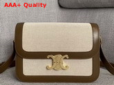 Celine Triomphe Bag in Textile and Natural Calfskin Tan and White Replica