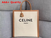 Celine Vertical Cabas Celine in Canvas with Celine Print and Calfskin Natural Tan Replica
