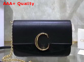 Chloe C Clutch with Chain Shiny and Suede Calfskin Black Replica