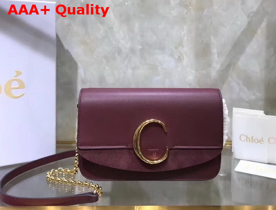 Chloe C Clutch with Chain Shiny and Suede Calfskin Burgundy Replica