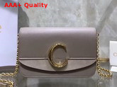 Chloe C Clutch with Chain Shiny and Suede Calfskin Motty Grey Replica