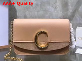 Chloe C Clutch with Chain Shiny and Suede Calfskin Nude Replica
