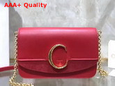 Chloe C Clutch with Chain Shiny and Suede Calfskin Plaid Red Replica