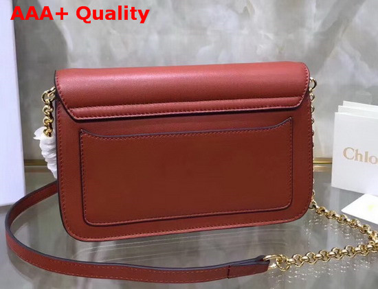 Chloe C Clutch with Chain Shiny and Suede Calfskin Rust Color Replica