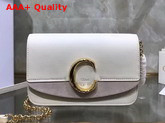 Chloe C Clutch with Chain Shiny and Suede Calfskin White Replica