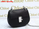 Chloe Drew Bag Black Grained Lambskin Silver Hardware Replica
