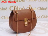 Chloe Drew Bag Brown Grained Lambskin Gold Hardware Replica