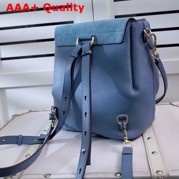 Chloe Faye Backpack in Cloudy Blue Smooth and Suede Calfskin Replica