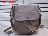 Chloe Faye Backpack in Motty Grey Smooth and Suede Calfskin Replica