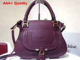 Chloe Marcie Double Carry Bag in Burgundy Small Grain Calfskin Replica