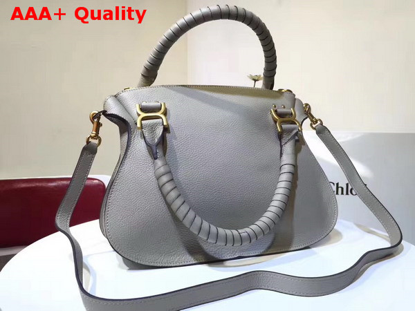 Chloe Marcie Double Carry Bag in Light Grey Small Grain Calfskin Replica
