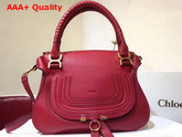 Chloe Marcie Double Carry Bag in Red Small Grain Calfskin Replica