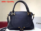 Chloe Marcie Handbag in Black Small Grain Calfskin Replica