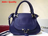 Chloe Marcie Handbag in Blue Small Grain Calfskin Replica