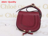 Marcie Small Saddle Bag In Grained Calfskin Red Replica