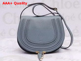Chloe Marcie Saddle Bag in Cloudy Blue Grain Leather Replica