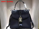 Chloe Medium Aby Day Bag in Black Grained and Shiny Calfskin Replica