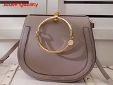 Chloe Medium Nile Bracelet Bag in Motty Grey Smooth and Suede Calfskin Replica