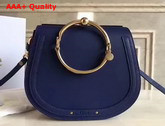 Chloe Medium Nile Bracelet Bag in Navy Blue Smooth and Suede Calfskin Replica