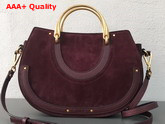 Chloe Medium Pixie Bag Bordeaux Suede and Smooth Calfskin Replica