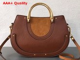 Chloe Medium Pixie Bag Brown Suede and Calfskin Replica