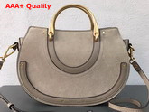 Chloe Medium Pixie Bag Motty Grey Suede and Smooth Calfskin Replica