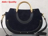 Chloe Medium Pixie Bag Navy Blue Suede and Black Calfskin Replica