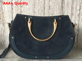 Chloe Medium Pixie Bag Suede and Smooth Calfskin Full Blue Replica