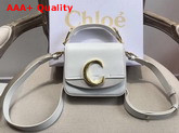 Chloe Mini Chloe C Bag in Shiny and Suede Calfskin Brilliant White Replica