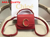 Chloe Mini Chloe C Bag in Shiny and Suede Calfskin Plaid Red Replica