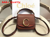 Chloe Mini Chloe C Bag in Shiny and Suede Calfskin Sepia Brown Replica