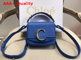 Chloe Mini Chloe C Bag in Shiny and Suede Calfskin Smoky Blue Replica