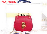Chloe Mini Drew Bag in Red Grained Calfskin Replica