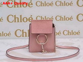 Chloe Mini Faye Bag Pink Suede Leather with Smooth Calf Leather Replica