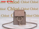 Chloe Mini Faye Leather and Suede Shoulder Bag Light Grey Replica