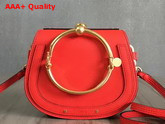 Chloe Nile Bracelet Bag in Red Smooth and Suede Calfskin Replica