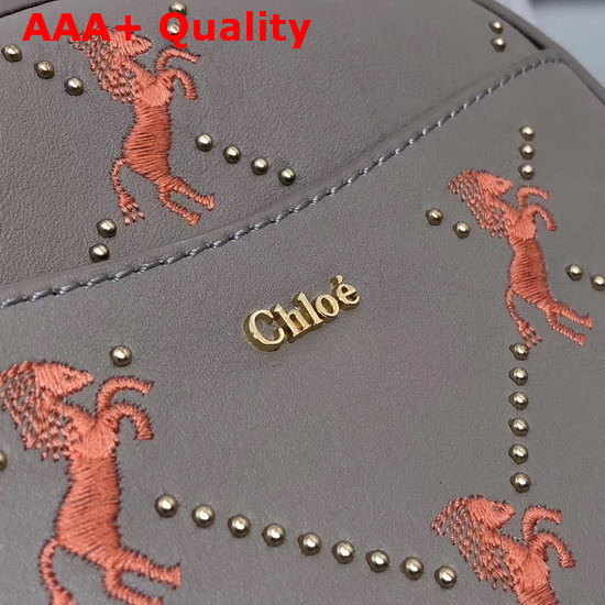 Chloe Signature Belt Bag in Motty Grey Smooth Calfskin with Embroidered Horses and Studs Replica
