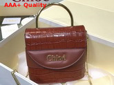 Chloe Small Aby Lock Bag Chestnut Brown Croc Embossed Calfskin Replica