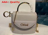 Chloe Small Aby Lock Bag Light Cloud Lizard Embossed Calfskin and Smooth Calfskin Replica