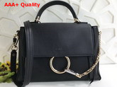 Chloe Small Faye Day Bag in Black Smooth and Suede Calfskin Replica