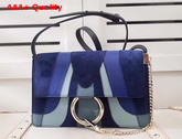 Chloe Small Faye Shoulder Bag in Navy Blue and Light Blue Grain Lambskin Smooth and Suede Calfskin Replica
