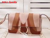Chloe Small Faye Shoulder Bag in Nude and Brown Small Grain Lambskin Smooth and Suede Calfskin Replica