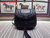 Chloe Small Hudson Bag in Black Smooth Calfskin with Suede Calfskin Tassel Replica