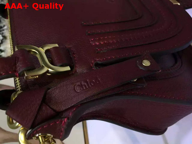 Chloe Small Marcie Bag in Grained Calfskin Oxblood Replica