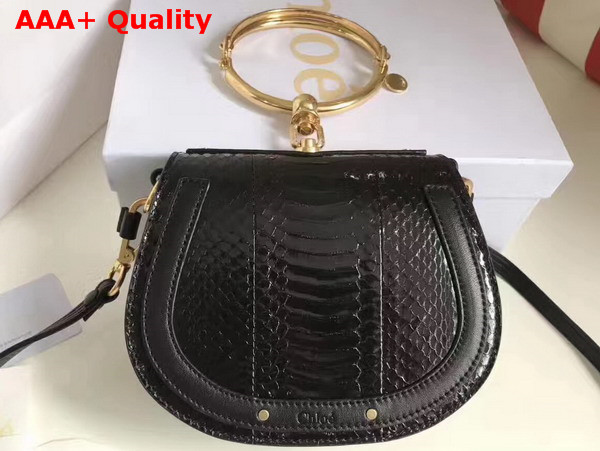 Chloe Small Nile Bracelet Bag in Black Python Replica