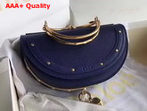 Chloe Small Nile Minaudiere in Navy Blue Smooth Calfskin Replica