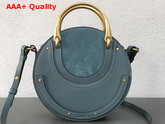 Chloe Small Pixie Bag Cloudy Blue Suede and Smooth Calfskin Replica