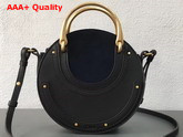 Chloe Small Pixie Bag Navy Blue Suede and Black Smooth Calfskin Replica