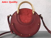 Chloe Small Pixie Bag in Sienna Red Suede and Smooth Calfskin Replica