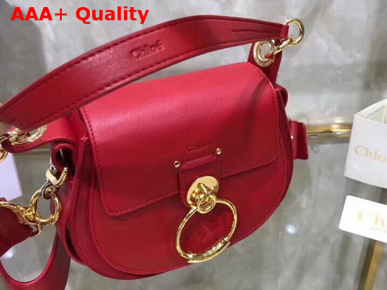 Chloe Small Tess Bag in Red Shiny and Suede Calfskin Replica